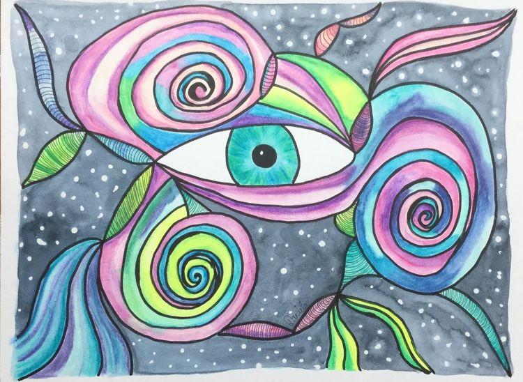Abstrakt, Gekritzel, Augen, Aquarellstifte, Zeichnung, Fantasie