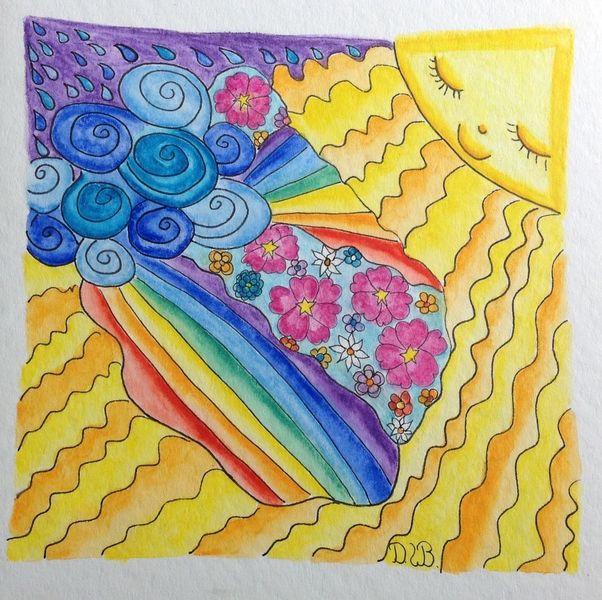 Sonne, Fantasie, Zeichnung, Blumen, Regen, Regenbogen
