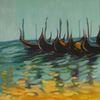 Gondel, Gelb, Ölmalerei, Hellblau