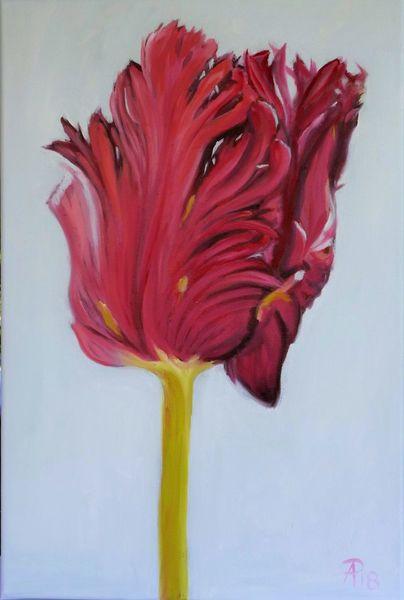 Tulpen, Rot, Blumen, Malerei, Pflanzen