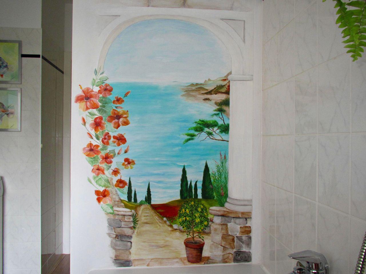 Blick aus dem fenster meer  Bild: Meer, Toskana, Weg, Hibiskus von Renate Prause bei KunstNet