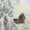 Wald, Winter, Schnee, Aquarell