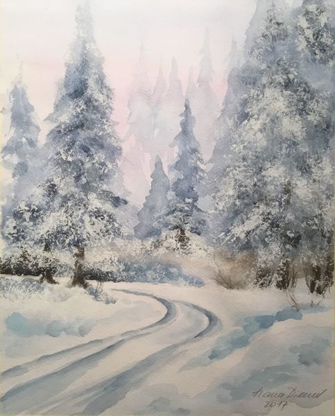 Schnee, Winterlandschaft, Winter, Aquarellmalerei, Wald, Aquarell