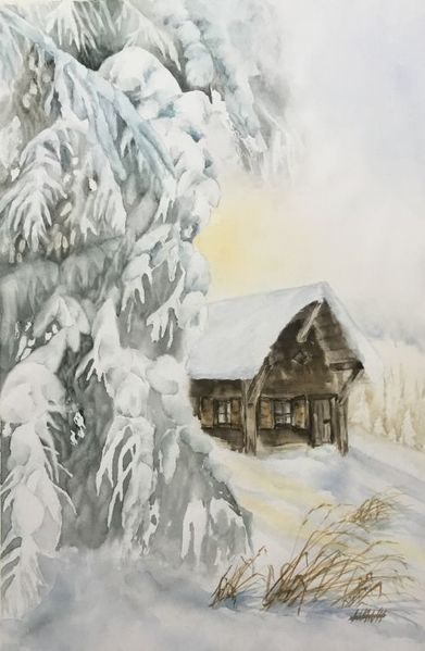 Winter, Schnee, Wald, Aquarell, Winterwald