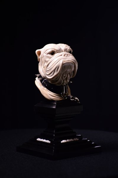 Hund, Schnitzkunst, Skulptur, Blackwood, Bulldogge, Tiere