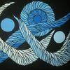Malerei, Schlange, Blautöne, Abstrakt