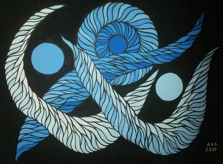 Acrylmalerei, Blau, Welle, Farbton, Pinsel, Fantasie