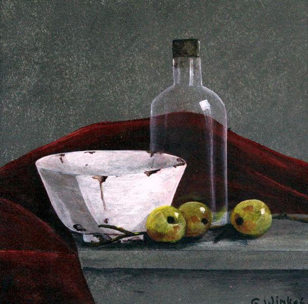 Stillleben, Acrylmalerei, Flasche, Rood, Malerei, Malerei stilleben