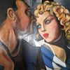 Gemälde, Kleid, Blick, Die idylle homage