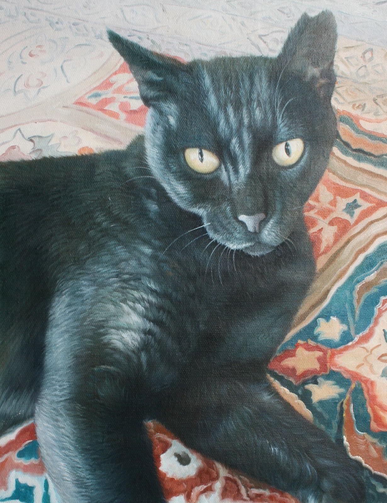 tierportrait einer katze als lgem lde vom foto gemaelde foto kunstkopie oelgemaelde. Black Bedroom Furniture Sets. Home Design Ideas