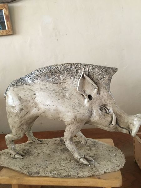 Tier plastik, Tier skulptur, Gartenplastik, Wildschwein, Keramik skulptur, Pank