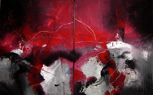 Abstrakt, Malerei, Rot,