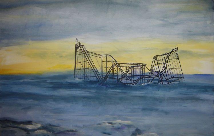 Wasser, Achterbahn, Acrylmalerei, Himmel blau, Malerei