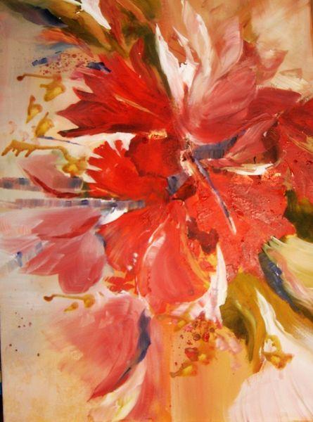 Blumen, Modern, Rot rose, Malerei, Rot