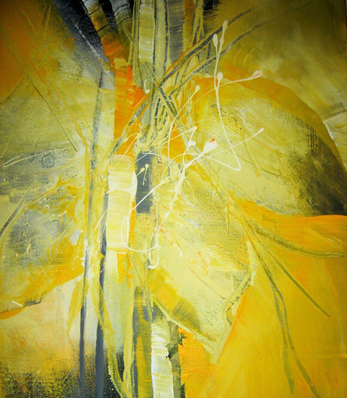 bild blatt und bl te acrylmalerei gelb modern von annemohn bei kunstnet. Black Bedroom Furniture Sets. Home Design Ideas