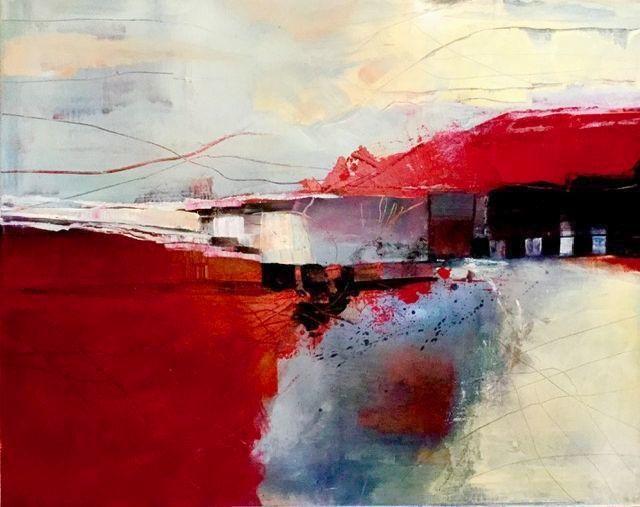 Rot, Modern, Landschaft, Acrylmalerei, Malerei,