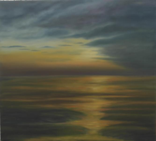 Ebbe, Landschaft, Sonnenuntergang, Naturalistisch, Meer, Malerei