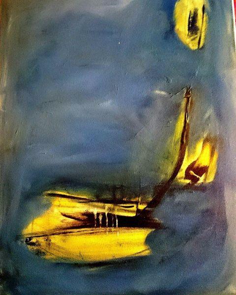 Vollmond, Wind, Stadt, Blau, Malerei, Wandel