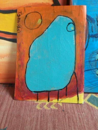 Gedanken, Moment, Gelb, Rot, Abstrakt, Malerei