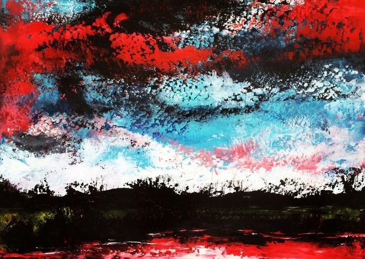 Landschaft, Öl auf karton, Spachteltechnik, Abstrakt, Malerei, Öl gemälde
