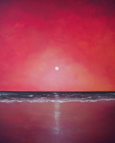 See, Sonnenuntergang, Malerei, Strand