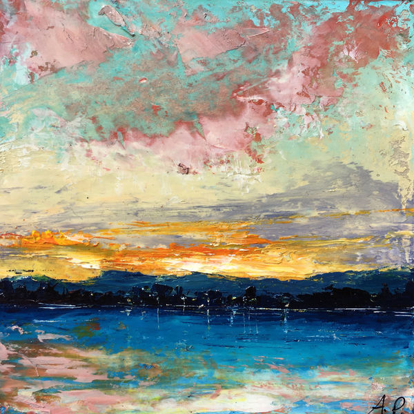 Abstrakt, Spachtel technik, Abstrakte landschaft, Malerei, Öl gemälde, Bodensee
