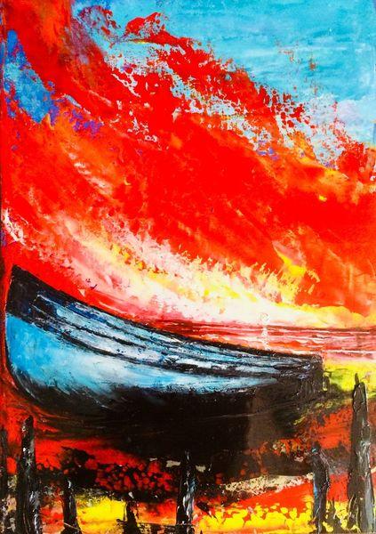 Abstrakt, Ölmalerei, Spachteltechnik, Malerei, Öl gemälde, Fischerboot