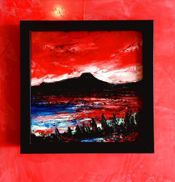Spachteltechnik, Ölfarben, Sonnenuntergang, Malerei, Öl gemälde, Bodensee