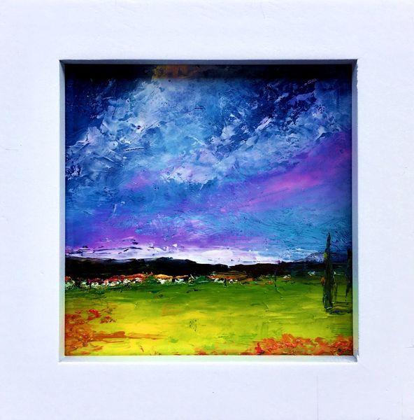 Abstrakte landschaft, Spachteltechnik, Ölfarben, Malerei, Öl gemälde, Toskana