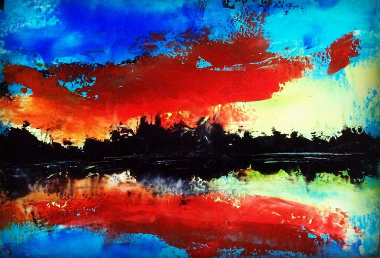 Spachteltechnik, Landschaft, Malerei, Öl gemälde,