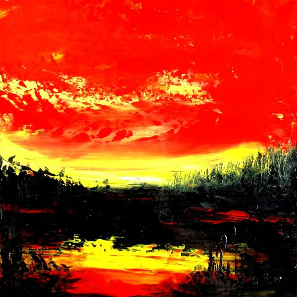 Spachtel, Technik, Öl auf karton, Malerei, Öl gemälde, Sonnenuntergang