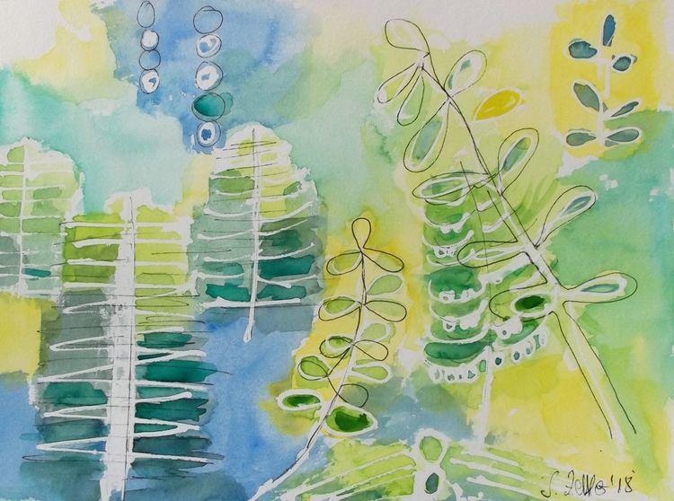 Abstrakte kunst, Grün, Gelb, Frühling, Abstrakte pflanzen, Aquarell