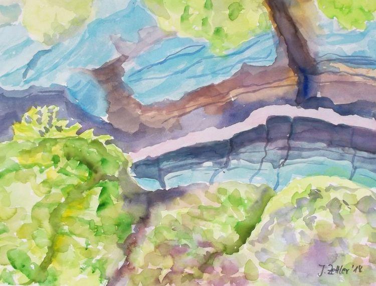 Partnachklamm, Gebirgslandschaft, Tiefe schlucht, Abstrakte landschaft, Malerei