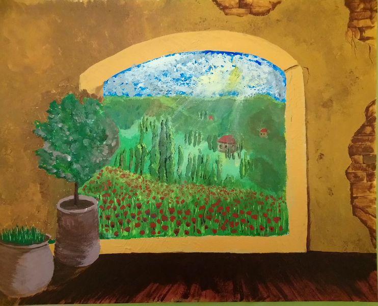 Grün, Mediterran, Mohnfeld, Sonnenstrahlen, Fenster, Malerei