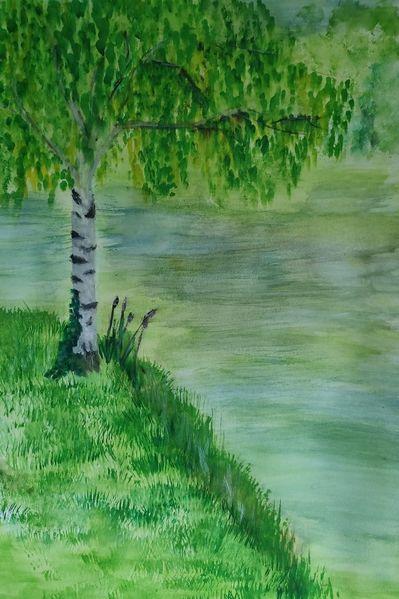 Birken, Wasser, Grün, Malerei