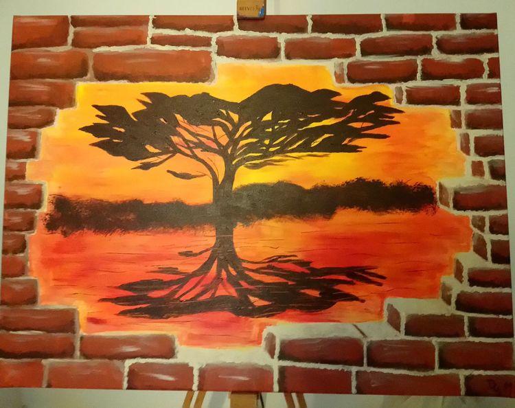 Baum, Rot, Landschaft, Mauer, Sonnenuntergang, Mediterran