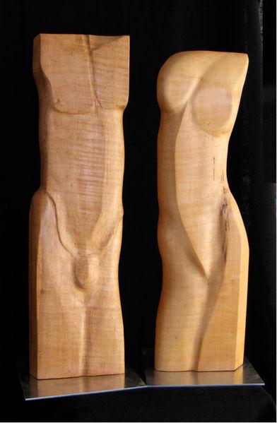 Skulptur, Paar, Torso, Holz, Männlich, Figur