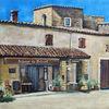 Dorf, Auberge, Südfrankreich, Malerei