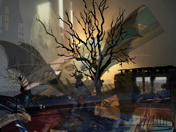 Fenster, Baum, Digitale kunst, Surreal,