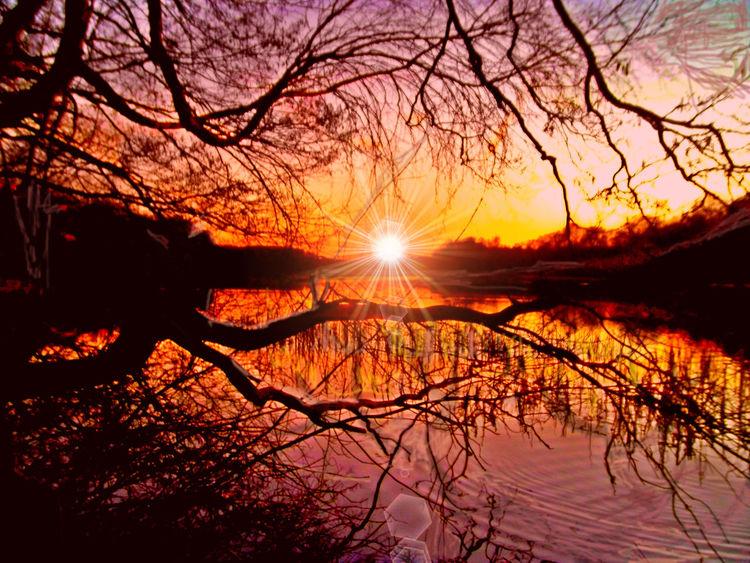 Abend, Sonnenuntergang, See, Dämmerung, Outsider art, Digitale kunst