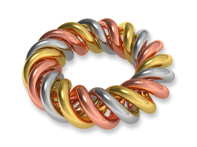 Kupfer, Donut, Twisted, Reflektierend, Silbern, Objekt