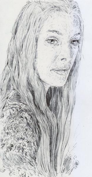 Frau, Haare, Sinnlichkeit, Augen, Zeichnungen, Kuli