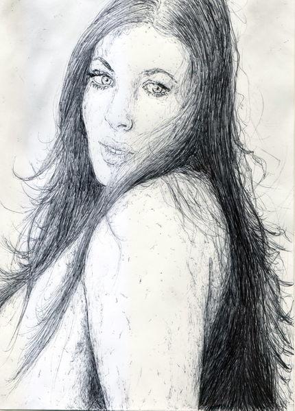 Erotik, Kugelschreiber, Frau, Haare, Long hair, Sinnlichkeit