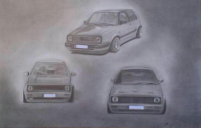 Auto, Scheinwerfer, Reifen, Portrait, Motorhaube, Zeichnung