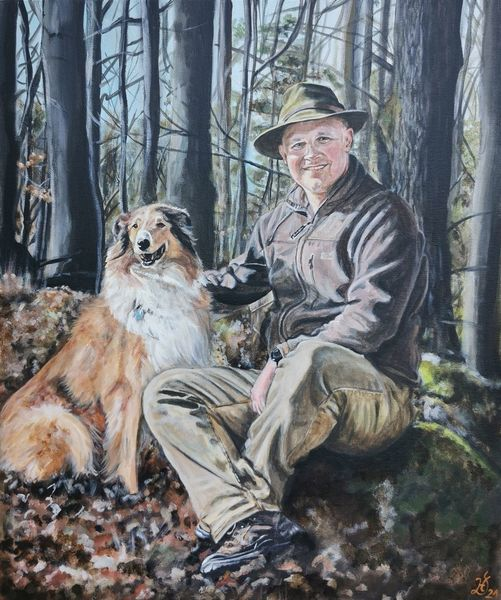 Wald, Mann, Freunde, Collie, Baum, Hund