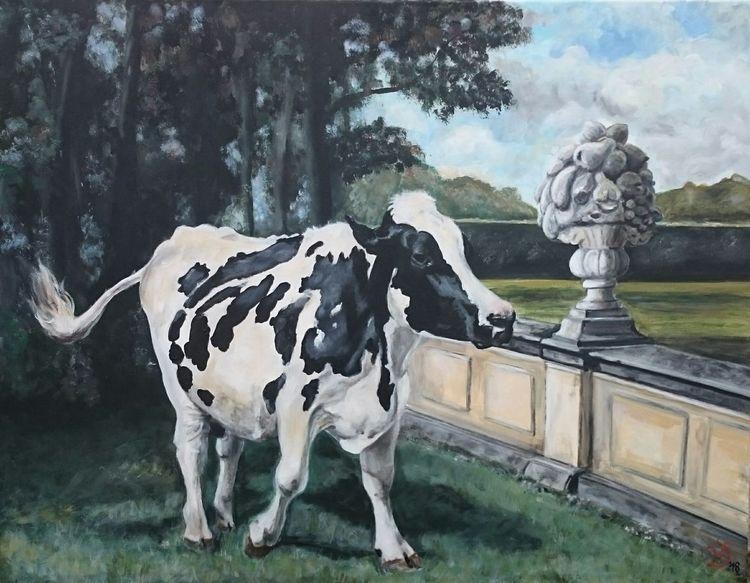 Kuh, Schlosspark, Mauer, Landschaft, Malerei