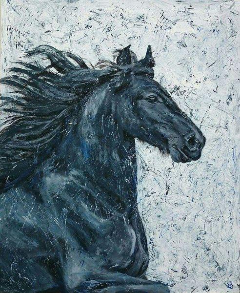 Schwarz, Pferde, Friese, Malerei