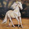 Cremello, Hengst, Pferde, Malerei