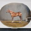 Pferde, Hund, Stall, Malerei