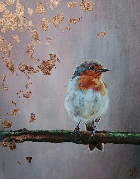 Rosegold, Rotkehlchen, Vogel, Malerei
